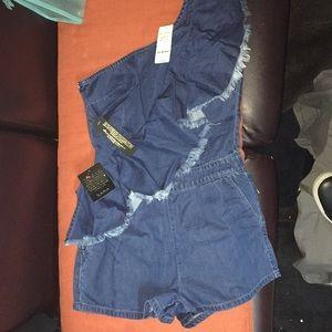 NWT Bebe -Romper/ jumper jeans